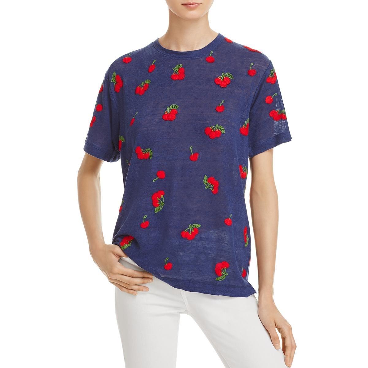 BannerDay Womens Linen Embroidered T-Shirt Navy M