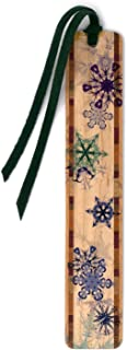 product image for Snow Flakes in Color - Winter Scene - Wooden Bookmark with Tassel