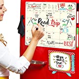 Refrigerator Calendar, Dry Erase Magnetic Board with TV Notepad + 3 Markers + Microfiber Eraser, 16x12 Inches