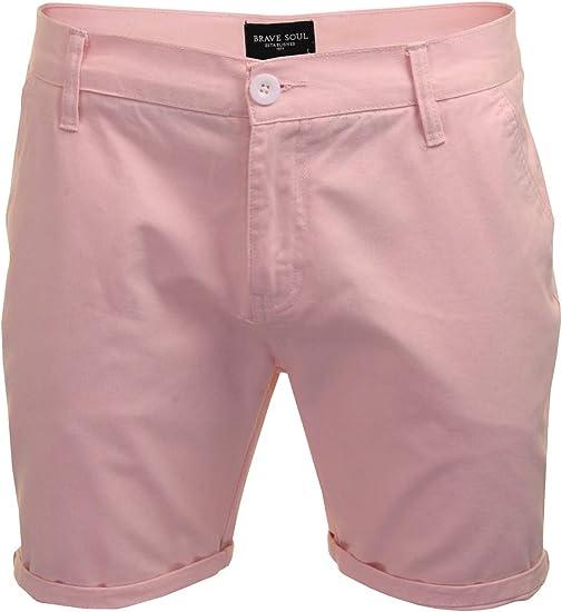 TALLA S-30W. Pantalones cortos de verano de Brave Soul, para hombre, de algodón, para vacaciones, el dobladillo se puede plegar