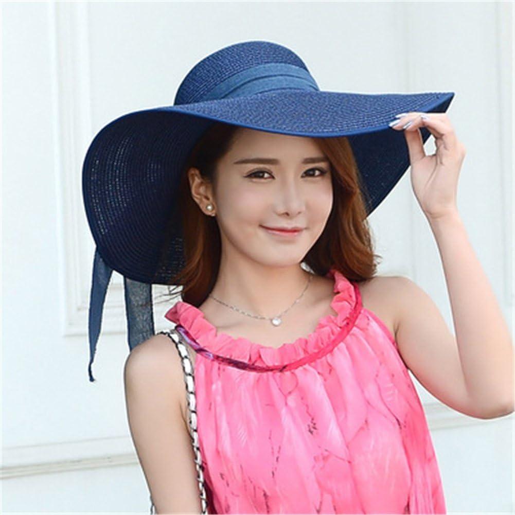 Big Brim Beach Cap UV Protection Floppy Foldable Bowknot Straw Hat DELORESDKX Women Sun Hats