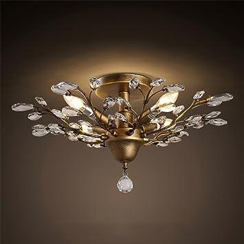 Hony Modern Vintage Kristall Deckenlampe Retro 4 Flammig Bronze