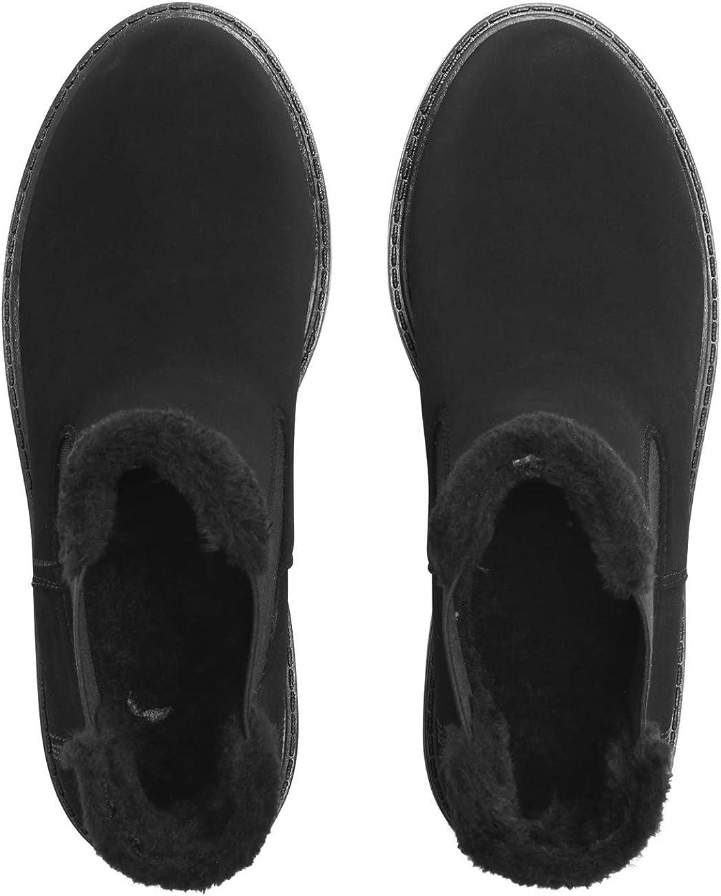 VIVASHOES Femmes Bottes Chelsea Fausse Fourrure Doubl/ée Cuir Gros Morceaux Imperm/éable Semelle en Caoutchouc lhiver Neige Chaussure Bottes