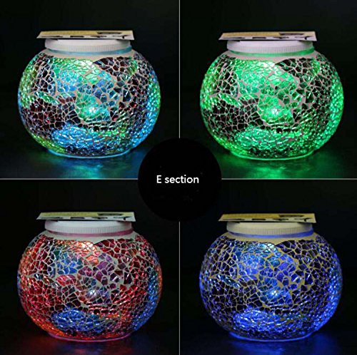 Solar Mosaic Glass Ball Garden Light Ball Mosaic Decorative Lights Stained Glass Decorative Table Lamp Garden, Corridor, Courtyard, Etc. ( Edition : E ) by Hzhy