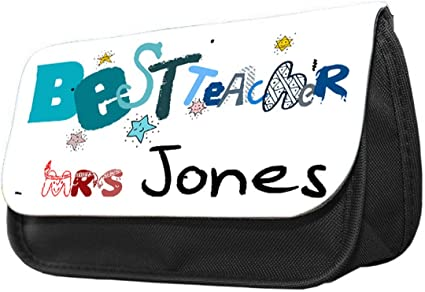 Estuche personalizado para lápices con diseño de profesor. Estuche de maquillaje, regalo de vuelta a la escuela.: Amazon.es: Oficina y papelería