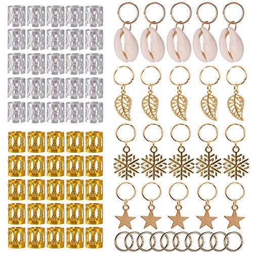 KeyZone 80 Pieces Hair Jewelry Rings Clips Aluminum Dread Locks Adjustable Metal Cuffs Dreadlocks Beads Braiding Hair Decorations