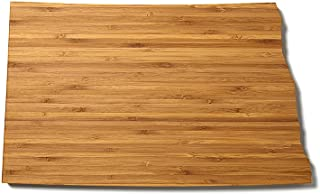 """product image for AHeirloom: The Original State Shaped Serving & Cutting Board. (As Seen in O Magazine, Good Morning America, Real Simple, Brides, Knot.) Made in the USA from Organic Bamboo, Large 15"""" (North Dakota)"""
