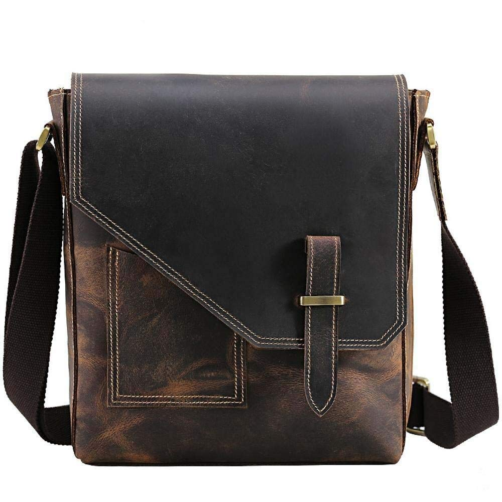 Gelaiken Laptops Bags Men's Retro Crazy Horse Skin with Baotou Leather Shoulder Bag 24cmx8cmx28cm Padded Computer Bag Large Briefcase for Work