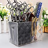 Ozzptuu Long Professional Acylic Salon Scissors Holder Rack Hairdresser Transparent Combs Clips Storage Case Keeper Organizer Desk Organizer for Hair Stylist