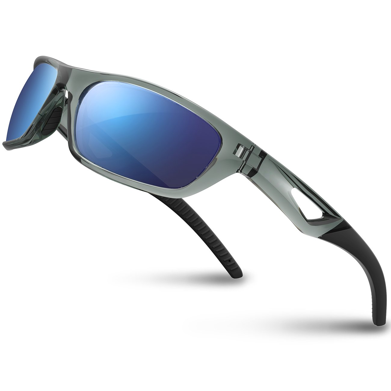 RIVBOS Polarized Sports Sunglasses Driving Glasses Shades for Men Women Rb831(Transparent Grey Ice Blue Lens)