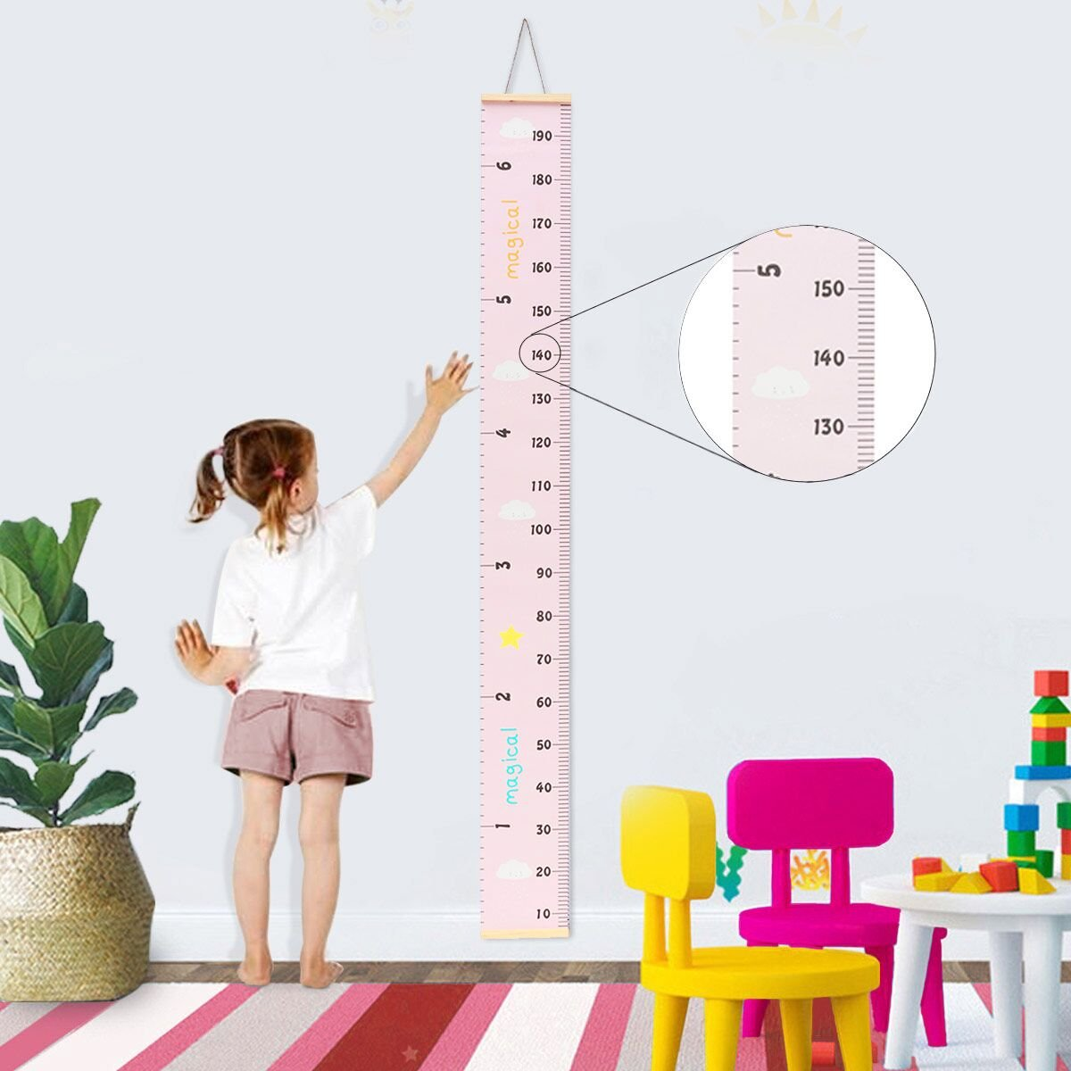 Jeteven Messlatte Tragbare aufrollbar Segeltuch und Holz Messlatte Höhe Diagramm um Kinder von der Geburt bis zum Erwachsenenalter,20x200cm Kinderzimmer Dekor (rosa)