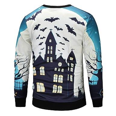 Resplend Blusa de la Blusa con Capucha de Manga Larga con Estampado de murciélago y murciélago de Halloween Casual para Hombre en la Parte Superior: ...