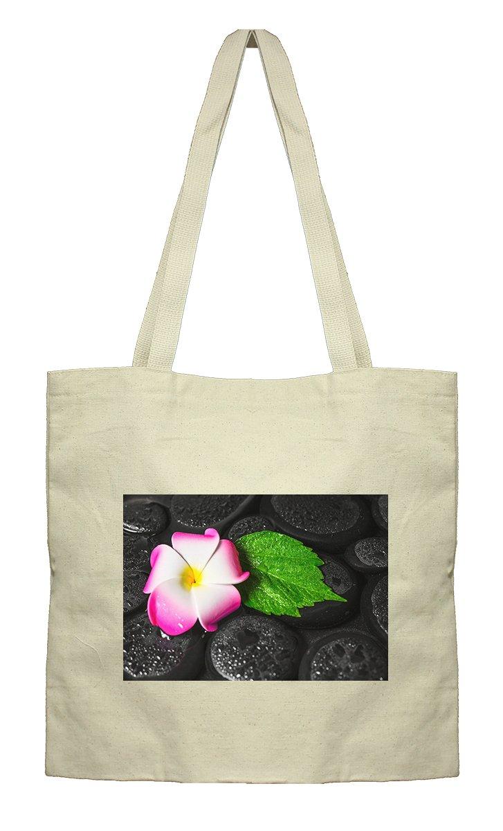 Flat Market Canvas Bag Spa Concept Green Leaf Hibiscus Plumeria