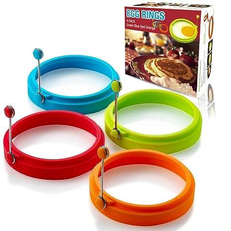KAINI Pack de 4 Anillos de Huevo de Silicona Nuevo Redondo Antiadherente Molde de Huevo Frito