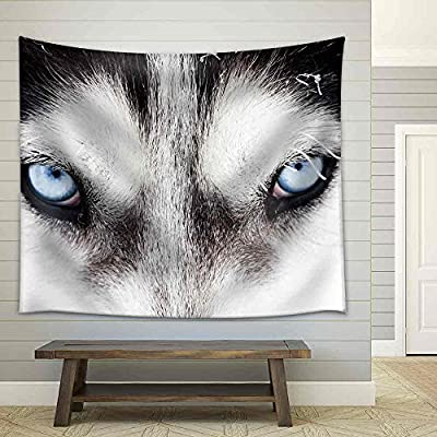 Amazing Style, Crafted to Perfection, Close Up on Blue Eyes of a Husky Dog Fabric Wall
