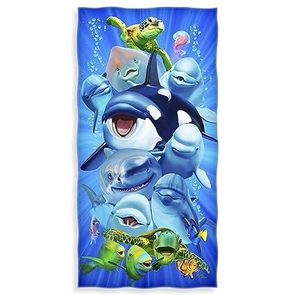 Ocean Animals - Toalla de playa de algodón con diseño de tortuga de tiburón de delfín