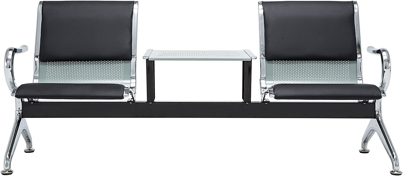 walsport Waiting Bench PU Leather Airport Reception Chair 2 Seat with Table for Waiting Room, Office, Bank, Hospital Bench, Black Silver