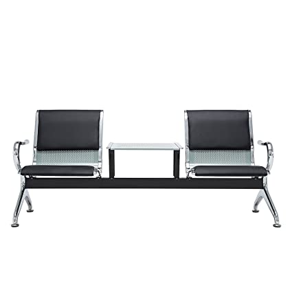 Silverylake Guest & Reception Chairs with Arms Waiting Room Chairs 2-Seats Bench Salon Barber Bank with Table Arm Rest Leather Cushion Furniture