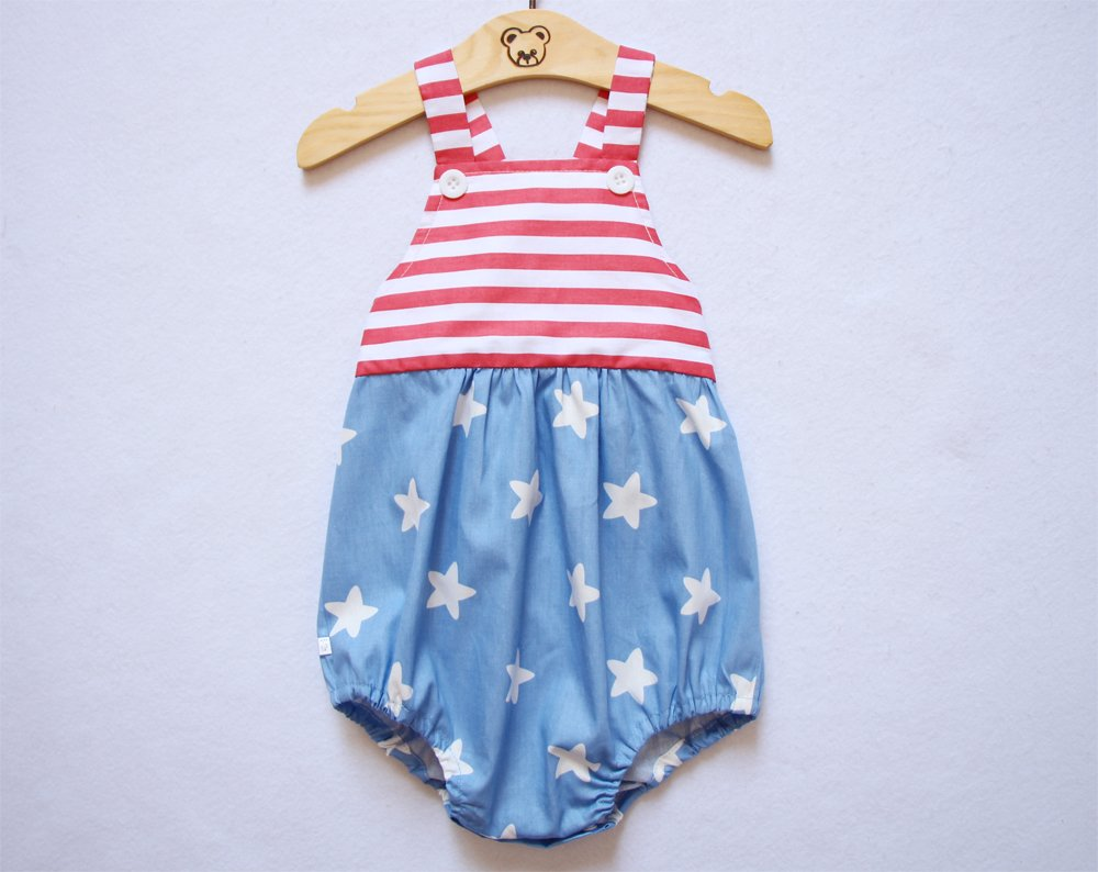 4th of July Baby Girl Romper Red Stripe Top Blue Bottom Baby Button Romper
