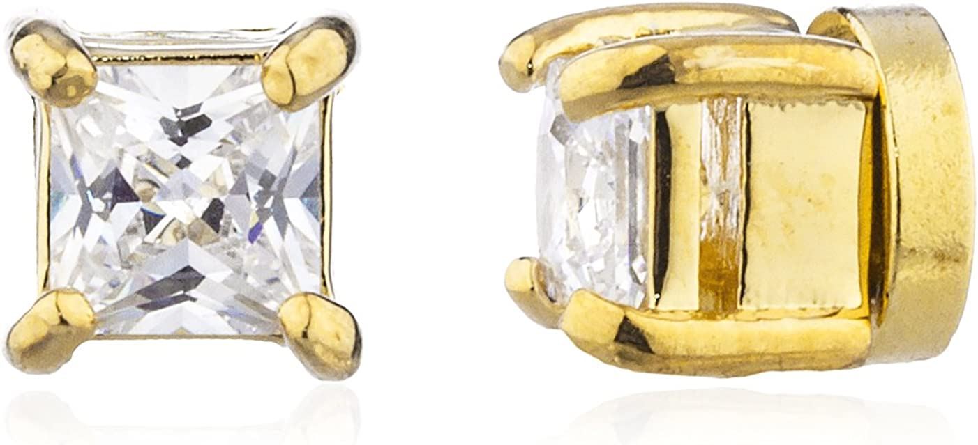 Goldtone with Clear Cz Square Magnetic Stud Earrings - 4mm to 12mm Available (86-X7O9-Q8TV)
