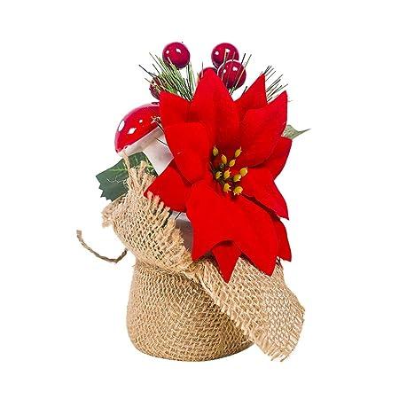 Amosfun Flor de Pascua de Navidad Baya roja Hongo Ornamento Mesa ...