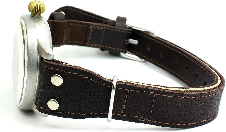 Sulla - Cinghia lunga per orologio da osservazione, compatibile con orologi lunghi e bassi, Laco, Stowa Guarnizioni Color Bronzo.