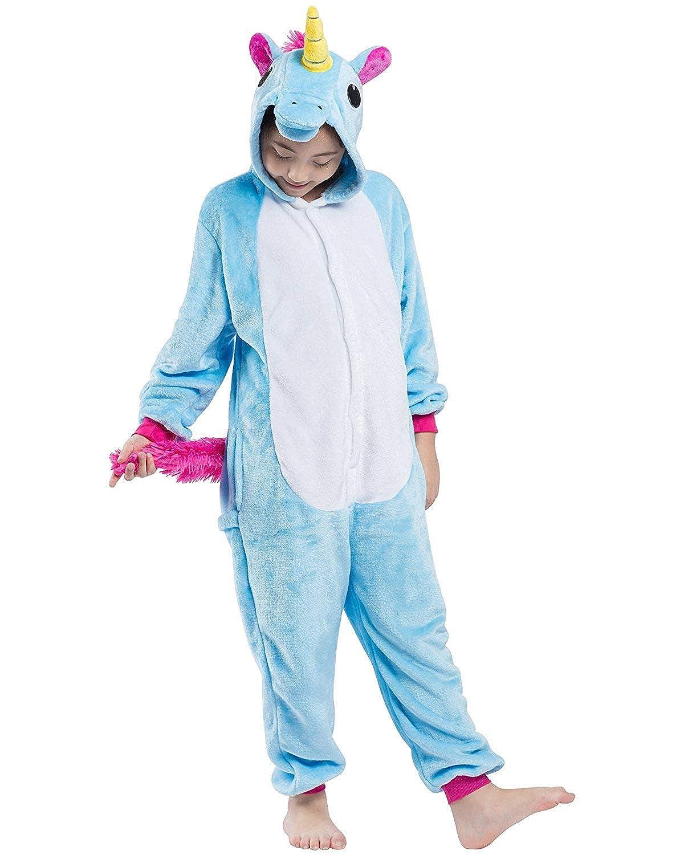 DELEY Bambini Pigiama Unicorno Onesie Cosplay Costume Halloween Carnevale Animale Tuta Pigiameria Blu