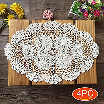 Amazon Kilofly Crochet Cotton Lace Placemats Doilies 4pc Oval