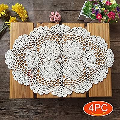 Elesa Miracle Handmade Beige Oval Crochet Cotton Lace Table Placemats Doilies Set, 4pc, Oval, Beige, 12 X 18 Inch - Packed with 4 pieces in box, it's a good gift choose Material - Cotton, washable Oval shape with elegant floral pattern - Harmonious with cups, glasses, dishes or other tabletop items. - placemats, kitchen-dining-room-table-linens, kitchen-dining-room - 61%2BCzrGTS3L. SS400  -