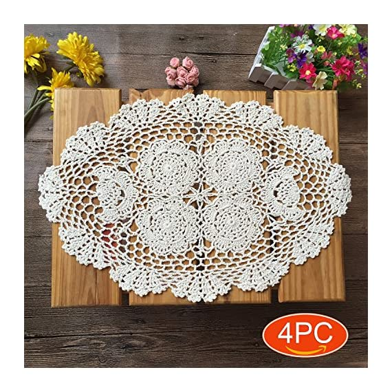 Elesa Miracle 12 X 18 Inch 4pc Handmade Beige Oval Crochet Cotton Lace Table Placemats Doilies Set, Oval, Beige - Packed with 4 pieces in box, it's a good gift choose Material - Cotton, washable Oval shape with elegant floral pattern - Harmonious with cups, glasses, dishes or other tabletop items. - placemats, kitchen-dining-room-table-linens, kitchen-dining-room - 61%2BCzrGTS3L. SS570  -