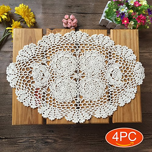 Elesa Miracle Handmade Beige Oval Crochet Cotton Lace Table Placemats Doilies Set, 4pc, Oval, Beige, 12 X 18 Inch ()