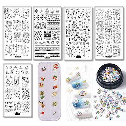 5pcs Christmas Nail Stamping Template Elk/Star/Bells Nail Art Stamping Plate+1 Box 3D Glitter Nail Art Snowflake Sequins + 1 Case Xmas Nails Rhinestones Alloy Decorations
