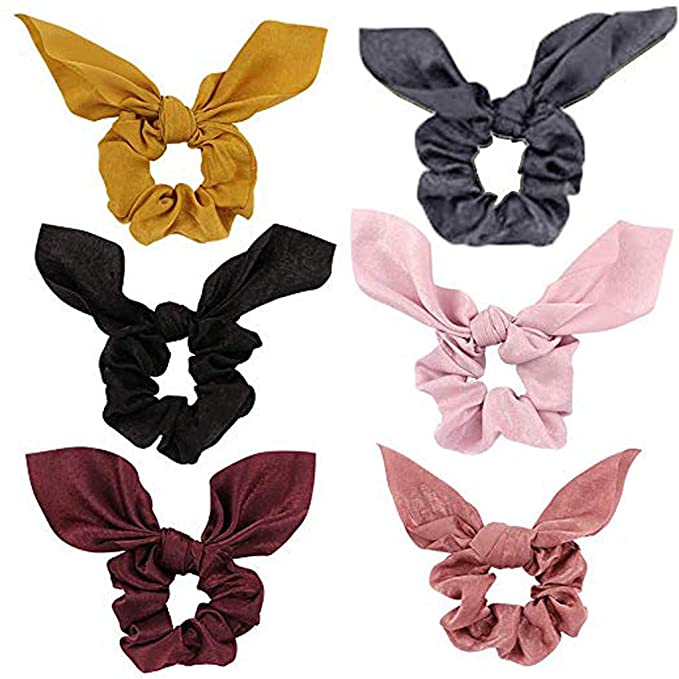 Ponytail Scarf Hair Floral Scrunchie Bow Ties Ribbon Hair Band Accessories LC