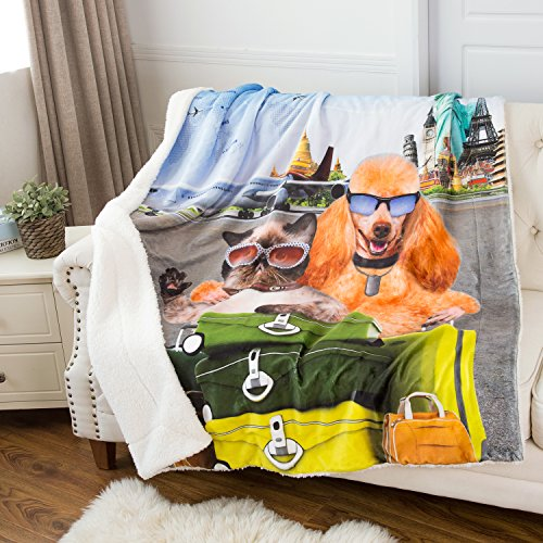 Bedsure Printed Pets Pattern Throw Blanket Cute Sherpa Kids Blanket 50