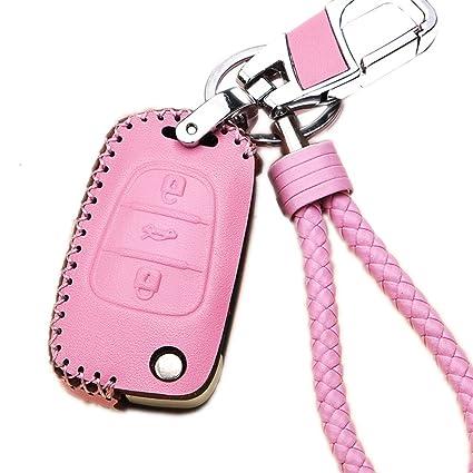 Womens Pink Leather Key Fob Case Cover Shell For KIA Sportage Rio Soul K5  K2 Hyundai 30 i35 Flip Remote Car Key Holder Protective Bag Skin with  Braided Key ... f84afbf9e