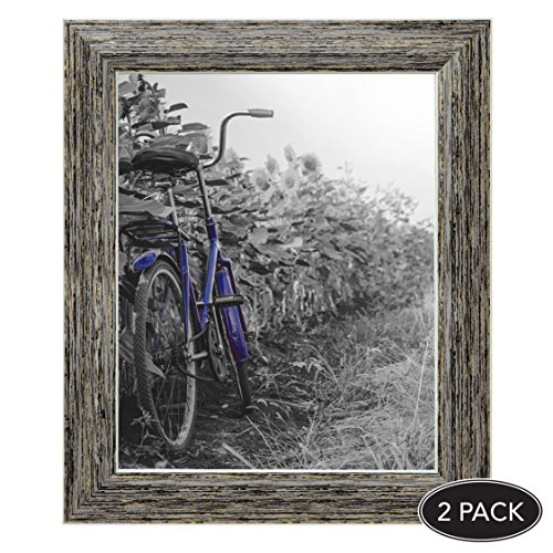 2-Pack, 8x10 inch Tan Rustic Picture Frame with Easel, Made for Wall and Table Top Display