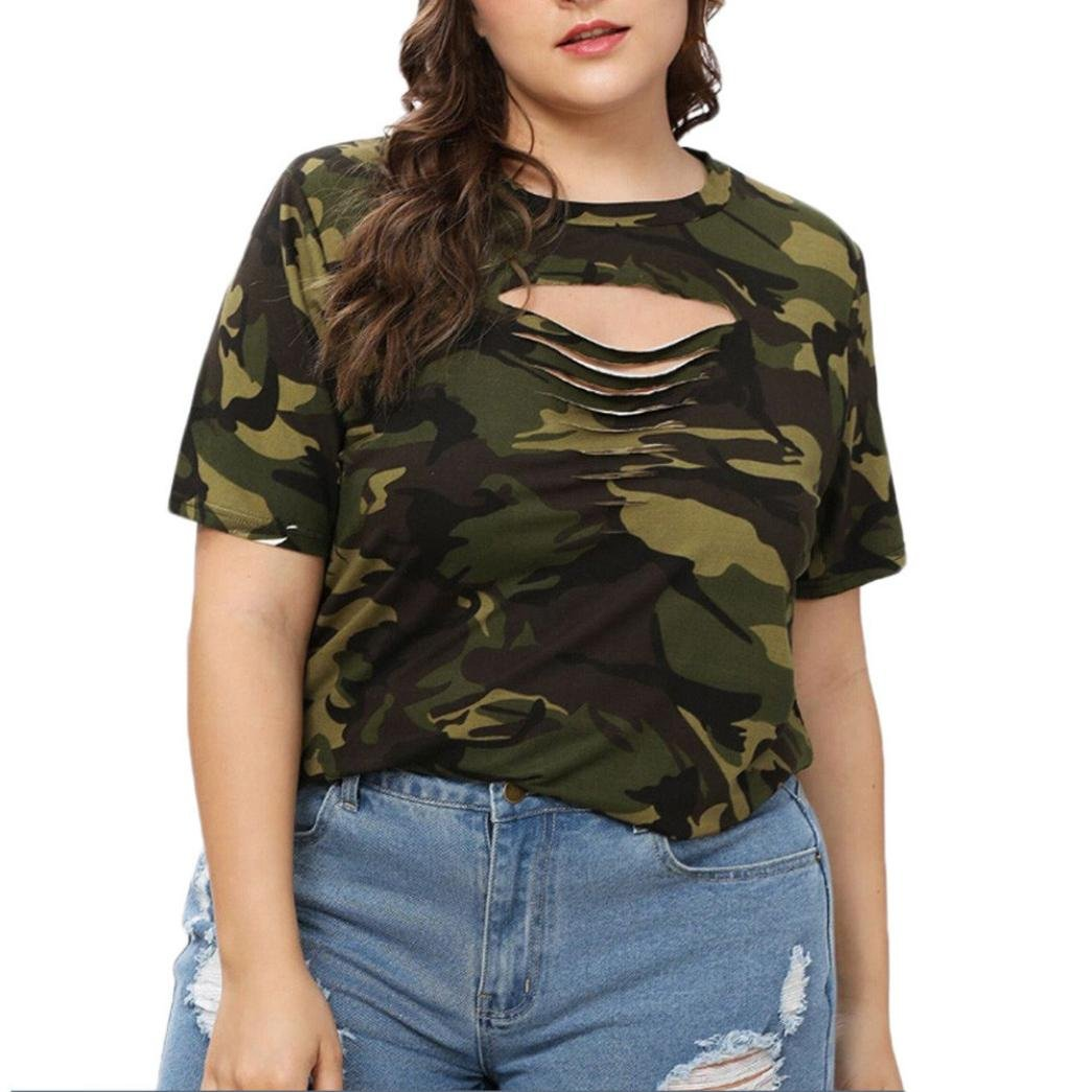 Clearance! Women Fashion Casual Tops Ripped Hole O-Neck Hollow Out Camouflage T-Shirt