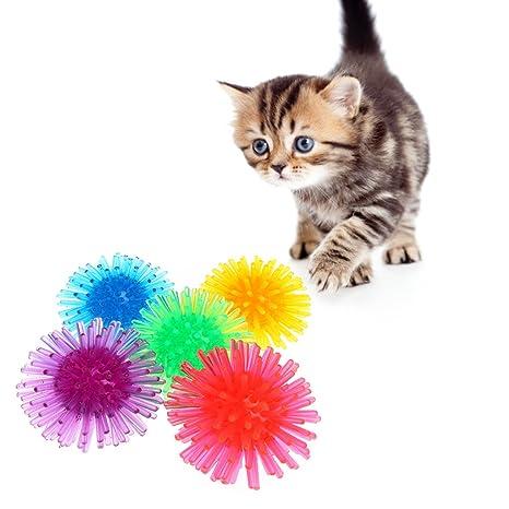 Celan - 5 Pelotas Huecas de Juguete para Gato, de plástico, interactivas, Color