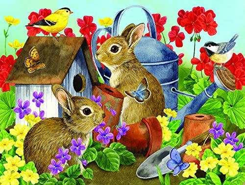 (Sunsout 2019 Bunnies and Birdhouses by Artist Jane Maday 500 Piece Animals Jigsaw)
