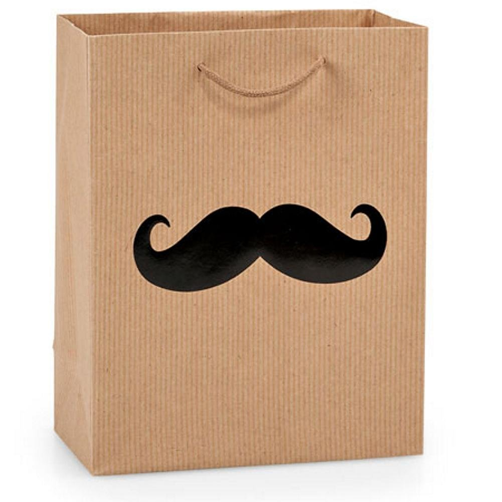 Amazon.com: NW Black Mustache On Pinstripe Kraft Gift Bags ...