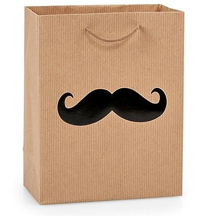 Amazon.com: NW Black Mustache On Pinstripe Kraft Gift Bags ...