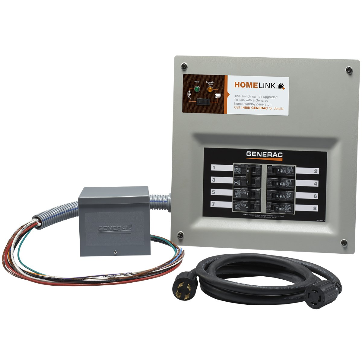 Generac 6853 Home Link Upgradeable 30 Amp Transfer Switch Kit with 10' Cord and Resin Power Inlet Box by Generac