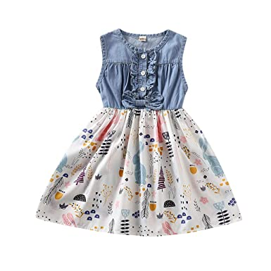 7fe9a7cf30e78 Amazon.com: Easter Toddler Baby Little Girls Denim Bunny Dresses Sleeveless  Floral Swing Skirt Girls Princess Party Clothes: Clothing