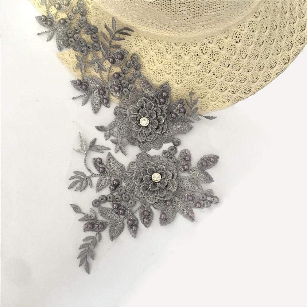 Bordado de alta calidad Collar de encaje con cuentas de perlas 3D Flores adorno de encaje Apliques Vestido de novia Decoración Escote Floral Parche Traje