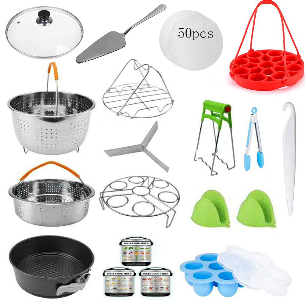 19 Pcs Pressure Cooker Accessories Set, Compatible with Instant Pot 5,6,8 Qt/Steamer Basket/Silicone Egg Bite Mold/Non Stick SpringForm Pan/Egg Steamer Rack/Oven Mitt/Tempered Glass Lid/Cake-Shovel/