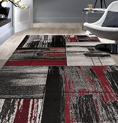 Rugshop Contemporary Distressed Geometric Boxes Design Area Rug 7 10 x 10 2 Red