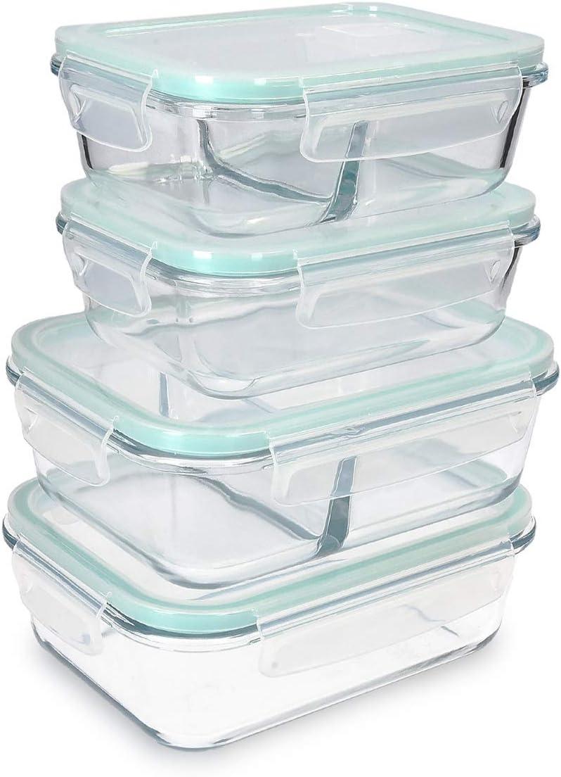 Navaris Set de 4 fiambreras de Cristal con Tapa - 4X Recipientes Variados herméticos antifugas para Horno microondas congelador y lavavajillas