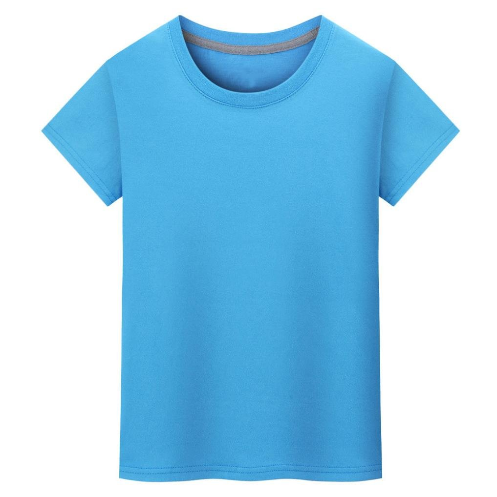 Paymenow Summer Tops For Women, Girls Basic Solid Round Neck T Shirts Casual Classic Short Sleeve Tee Blouse (Blue, XL)
