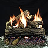 Myard 18'' inches Country Oak DELUXE Fire Gas Logs (LOGS ONLY) for Natural Gas / Liquid Propane Vented Fireplace