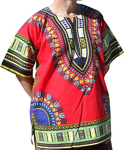 RaanPahMuang Brand Unisex Bright Colour Cotton Africa Dashiki Shirt Plain Front, X-Large, Lava Red by Raan Pah Muang